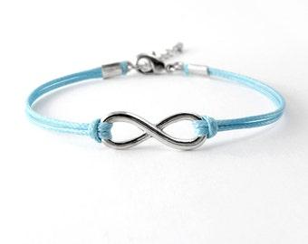 Infinity Bracelet, Light Blue Cord Bracelet, Endless Charm Bracelet, Friendship Bracelet