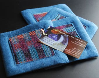 Handwoven Coasters or Mug Mats- Set of Four (4) - Blueberry