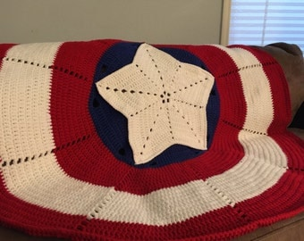 Crochet Pattern American Hero Blanket The Big One Adult Size-Inspired by Captain America Digital or Weighted Blanket