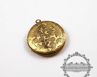 5pcs 27MM vintage bronze brass round photo locket,flower photolocket 1111012