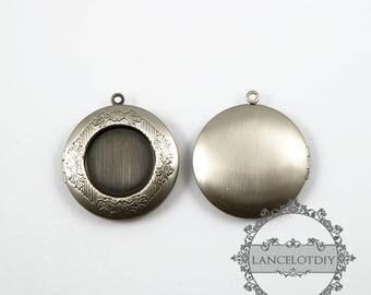 wholesale 5pcs vintage brass antique silver locket pendant,photo locket,round locket 1113001