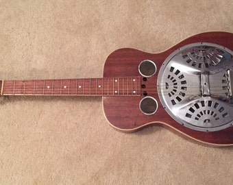 C. 1929 Dopyera Brothers Roundneck Resonator Guitar 'Dobro' with ramp Cut Peghead- Free Shiping