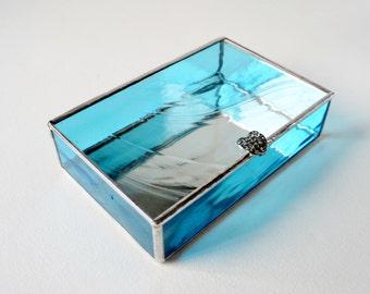 Turquoise Blue Glass Box, Glass Box, Glass Display Box, Glass Jewelry Box, Wedding Display Box, Jewelry Box, Gift For Girlfriend