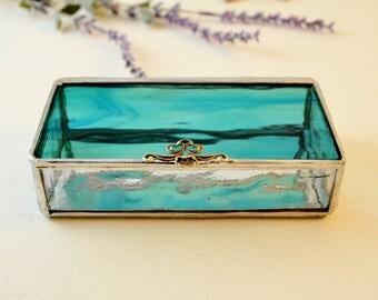Light Teal Aqua Blue  Glass Box, Glass Display Box, Glass Jewelry Box, Wedding Display Box, Jewelry Box, Bridesmaid Gift