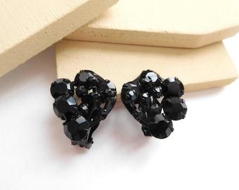 Vintage Black Rhinestone Flower Japanned Metal Estate Clip On Earrings BB45