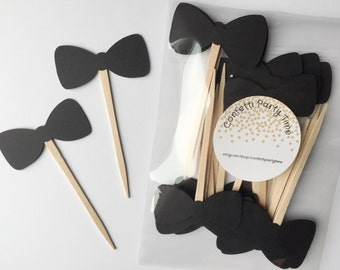 24 Bow Tie Cupcake Toppers | Cardstock | 2 inches