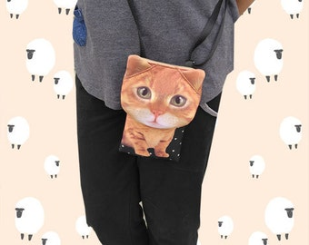 Cat, cross body phone case, cat bag, cat smartphone pouch, iPhone 4s pouch, iPhone 5 or 6 pouch, Note 3 pouch, cat purse, PH 1175