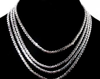 """CORO Pegasus 4 Link Chain Necklace Signed Silver Plated Metal 15"""" Vintage"""