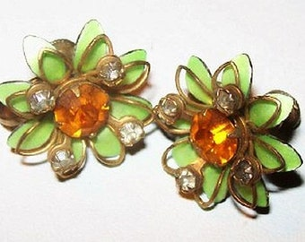 "Rhinestone Cluster Earrings Signed Prestige Orange Mint Green Gold Wire 1"" Vintage Spring"