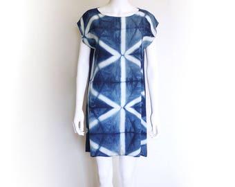Shibori Silk dress.  Indigo Mini dress natural dye silk dress