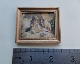 1:12th Plain Picture/Mirror Frame in Gold Dolls House Miniature Accessory/Wall Hanging