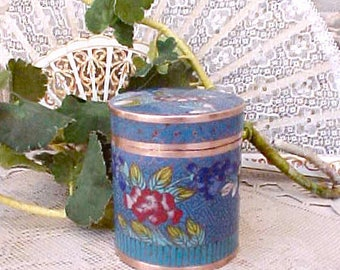 Lovely Vintage Chinese Cloisonne Round Box in Pretty Blue with Floral Design