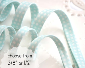 "white polka dots on mint - double fold, bias tape - 3 yards, CHOOSE 3/8"" or 1/2"" wide"