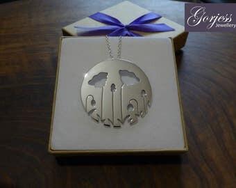 Large Silver Poppy Pendant Necklace