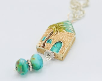 Beach House Necklace, Pendant, Czech Glass Beads, For Her