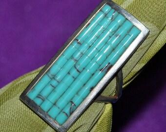 ZUNI CORNROW RING Turquoise Sterling c1970