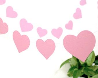 Valentines day decorations, Valentines garland, pink hearts garland, hygge valentines decor, baby shower decor, pink nursery decor