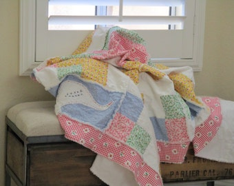 Patchwork Lap Rag Quilt, Homemade Quilt, Country Quilt, Pink Quilt, FREE SHIPPING
