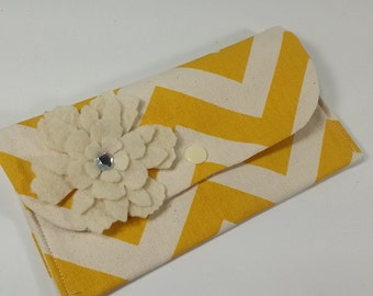 Cash Budget Wallet System with Dividers, Coupon Holder, READY TO SHIP -Yellow Chevron