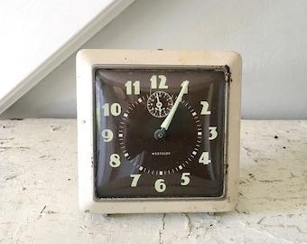 Vintage Clock Alarm Clock Westclox Midcentury Retro Square
