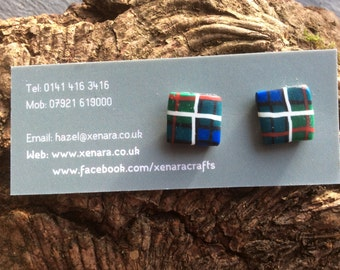 Scottish gift - Tartan jewellery - Tartan Stud Earrings - Square studs - Polymer clay earrings