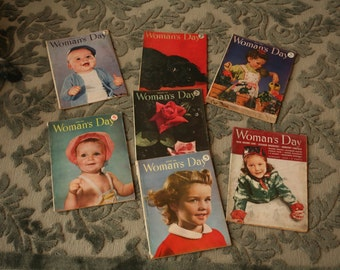 Seven, 1940s Woman's Day Magazines, 1940s, Advertising, Old Magazines, Girls, Women, October, June, December