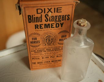 Vintage Dixie Blind Staggers Remedy Veterinary Medicine Box and Bottle