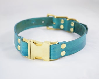 The Elessar QR Collar: Teal & Brass Quick Release Leather Dog Collar
