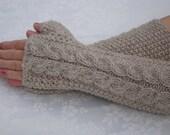 Fingerless Gloves. Mittens.Wool Fingerless Gloves Knit.Oatmeal.Long Winter Arm Warmers.Women.