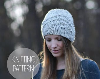 FLASH SALE knitting pattern geometric hat toque - the High Rise beanie