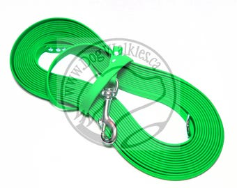 """Neon Apple Green - Nose Work Light Weight Long Line - 1/2"""" (12mm) wide Beta Biothane - Tacking Recall Leash - Choice of hardware and length"""