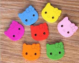 "30 PC Painted wood buttons 20mm - Wooden Buttons ,tree buttons, natural wood buttons ""hello kitty"" A062"
