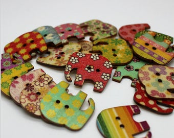 """30 PC Painted wood buttons 30mm - Wooden Buttons ,buttons, natural wood buttons """"elephant"""" A089"""