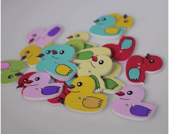 """30 PC Painted wood buttons 30mm - Wooden Buttons ,buttons, natural wood buttons """"duck"""" A100"""