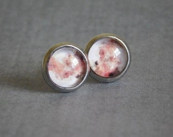 Red Moon Stud Earrings : Glass Photo Planet Jewelry