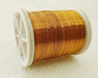 Craft supply Copper wire, 28 Gauge wire, dark gold craft wire, 50 meters (55 yards) craft wire, jewelry making, color wire, Beading Wire