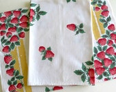 Mid Century Cotton Tea Towels, Vintage Kitchen Towels, Red and Pink Strawberries with Yellow Stripes, Vintage Linens by TheSweetBasilShop