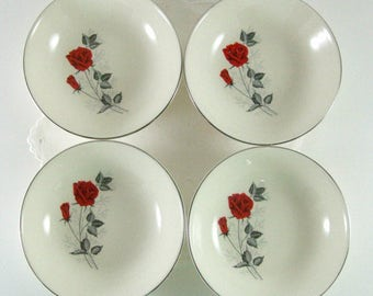 4 Mid Century Fruit Bowls or Sauce Dish, Taylor Smith & Taylor Vintage China Moulin Rouge Pattern, Red Rose Gray Leaves, TheSweetBasilShoppe