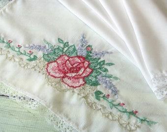 Vintage Table Runner or Dresser Scarf, Hand Embroidered Dresser Doily, Red Roses w  Lavender Flowers, Vintage Linens