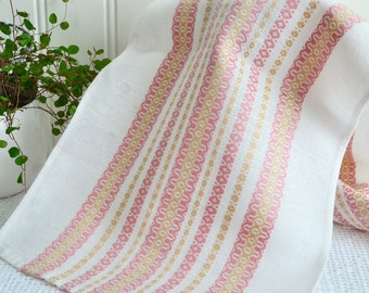 "Soft table runner, vintage Swedish home decor, pink and dark  yellow , sixties tablecloth , 38 "" x 10 """