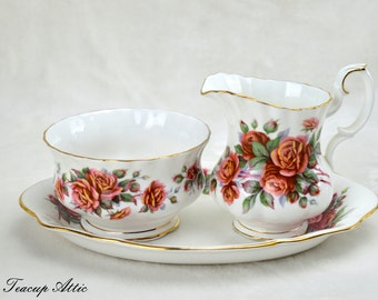 Royal Albert Centennial Rose Cream and Sugar Set With Tray, English Bone China Creamer and Open Sugar Bowl, Replacement china