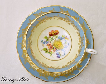 Paragon Dusty Blue Teacup And Saucer, English Bone China Tea Cup Set, Wedding Gift, Cabinet Collecter's Cup, ca. 1965
