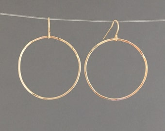 GOLD FILL SMALL Hammered Circle Earrings