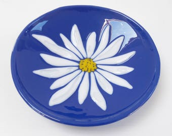 Daisy Plate Original Piece of Fused Glass
