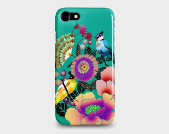 iPhone 7, iPhone 7PLUS Phone case. Birds and Flowers  design by Anja Jane. Turquoise, pink and peach.