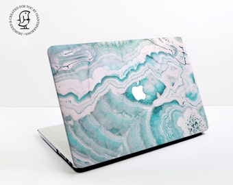 Marble Turquoise and White - MacBook Hard Protective Case for MacBook Pro, Air, Air Retina, Pro Retina & 2016 MacBook Pro