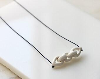 Handmade porcelain chain - long white pendant necklace