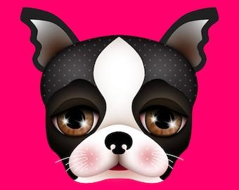 Giclee Fine Art Print of my Digital Illustration, Boston terrier, 8x8