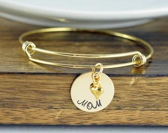 Gold Bangle Bracelet, Gold Mom Bracelet, Mother Day Gift, Mothers Jewelry, Mothers Bracelet, New Mom Gift, Gifts for Mom, Mom Gift