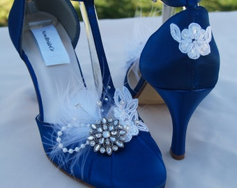 Navy Blue Wedding Shoes Vintage style, Brides Something Blue, Satin Rounded Toe,Closed Toe,D'Orsay Style T Strap,Old Hollywood,Great Gatsby